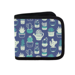Blue Pattern Succulents Canvas Wallet