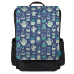 Blue Pattern Succulents Backpack Flap