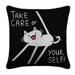 Self-Care Cat White Pillow Case