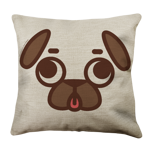 Puglie Derpy Poot Face Linen Pillow Case